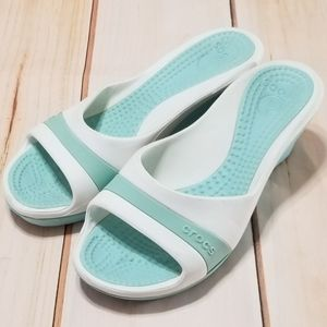 Crocs Sassari Light Blue White Open Toe Wedges 9